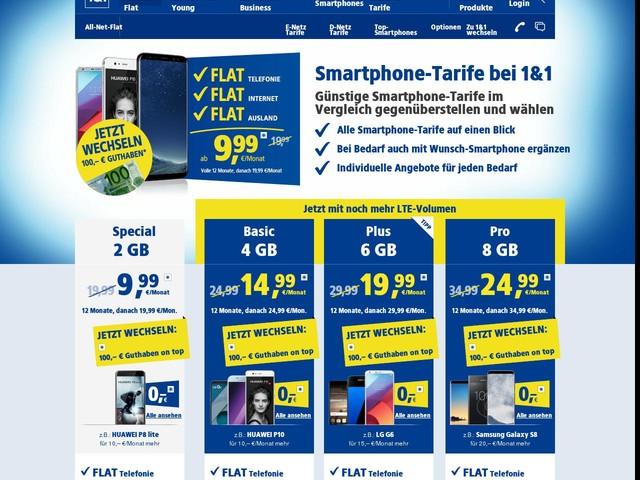 Smartphone Tarife bei 1&1 zum günstigen Preis finden