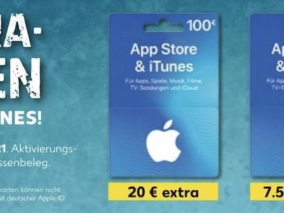 Bis zu 20 Prozent Bonus auf iTunes Karten bei Kaufland