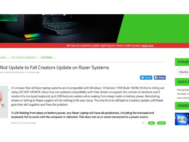 Windows 10 Herbst-Update: Probleme bei Razer-Laptops