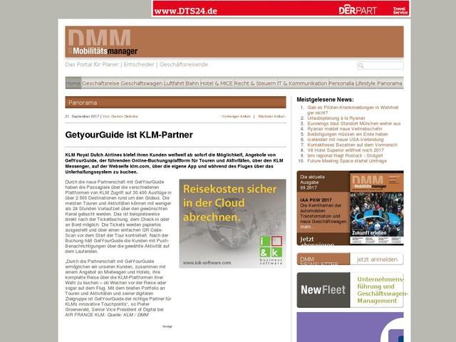 GetyourGuide ist KLM-Partner