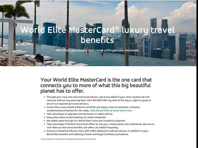 Travel Card   World Elite Mastercard Benefits