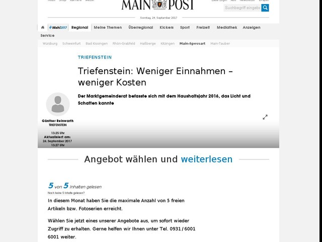 Triefenstein: Weniger Einnahmen - weniger Kosten