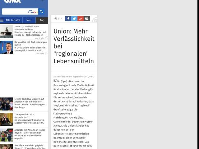"""Union: Mehr Verlässlichkeit bei """"regionalen"""" Lebensmitteln"""