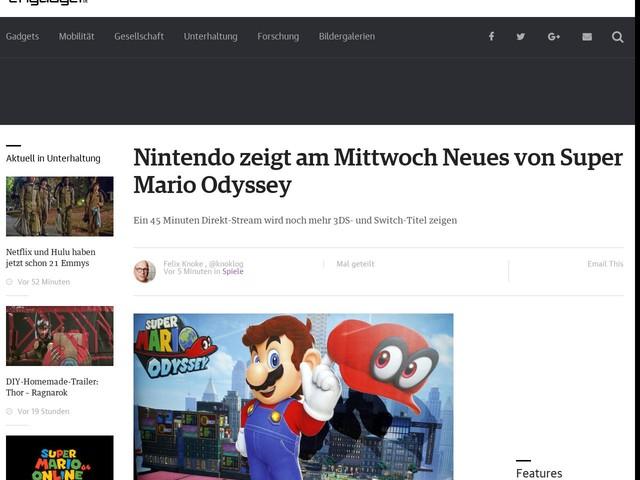 Nintendo zeigt am Mittwoch Neues von Super Mario Odyssey