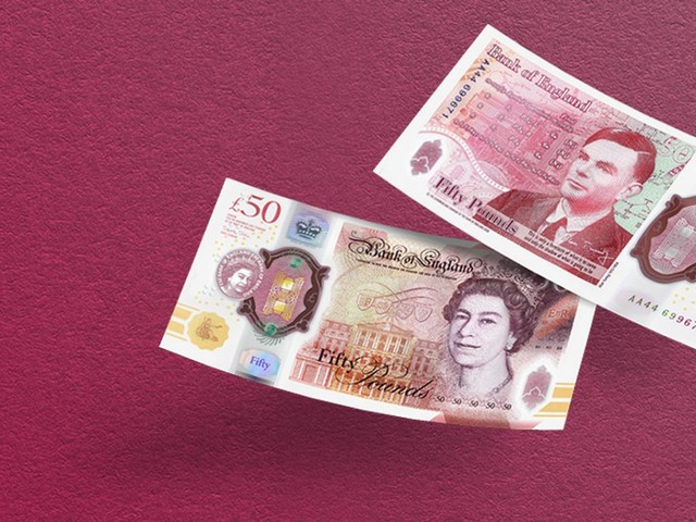 50-Pfund-Note mit Porträt Alan Turings im Umlauf