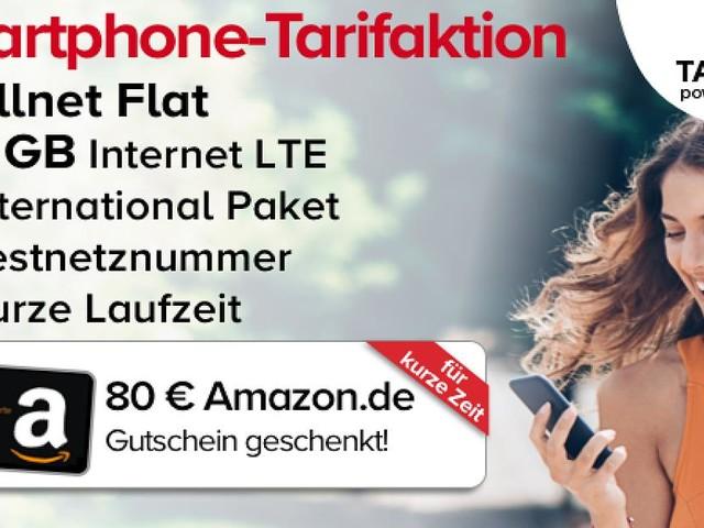 Shopping-Deal mit FOCUS Online - 4 GB LTE Handytarif für rechnerisch unter 3,50 Euro im Monat und 80 Euro Amazon-Guthaben sichern