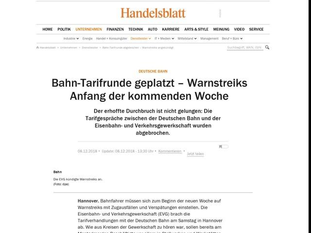 Deutsche Bahn: Bahn-Tarifrunde geplatzt – Warnstreiks Anfang der kommenden Woche