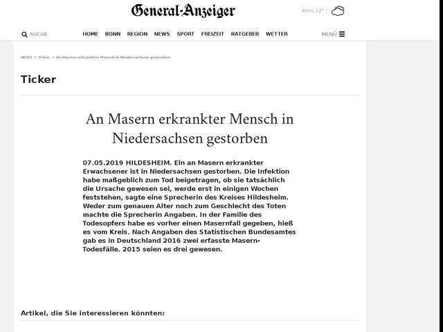 An Masern erkrankter Mensch in Niedersachsen gestorben