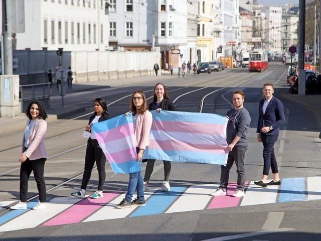 Wiens erster Trans*-Pride-Zebrastreifen am Alsergrund eröffnet