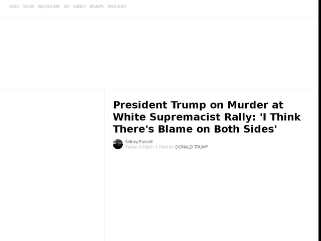 President Trump on Murder at White Supremacist Rally: 'I Think There's Blame on Both Sides'