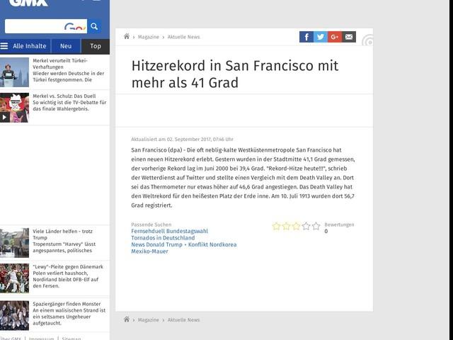 Hitzerekord in San Francisco mit mehr als 41 Grad