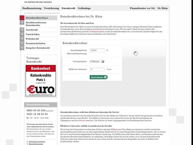 Ratenkreditrechner – Kreditzinsen berechnen bei Dr. Klein