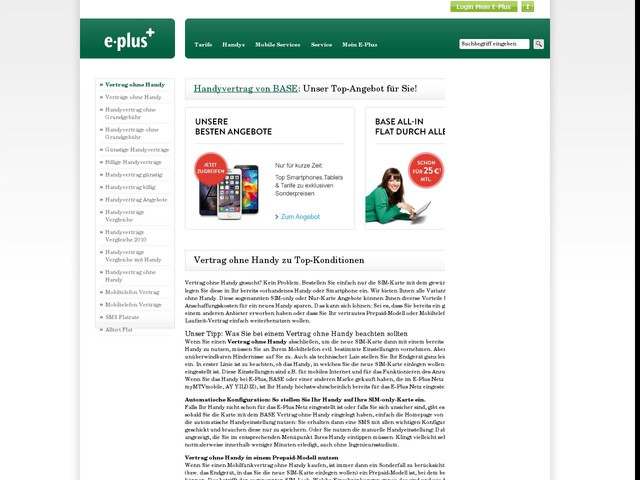 Vertrag ohne Handy - Günstig online bestellen - www.eplus.de