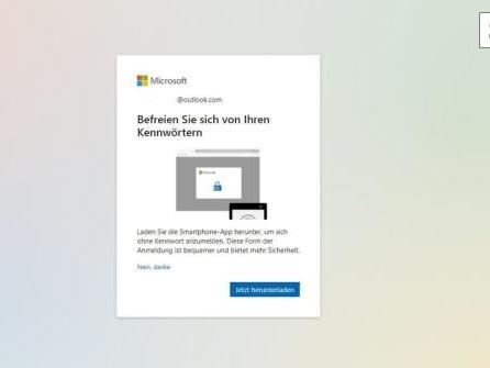 Microsoft-Konto kann jetzt ohne Passwort genutzt werden
