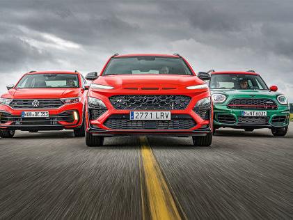 VW T-Roc R, Hyundai Kona N, Mini JCW Countryman: SUVs,Test, Motor, Preis Kompakte Power-SUVs im Vergleich: Kona N gegen Countryman JCW und T-Roc