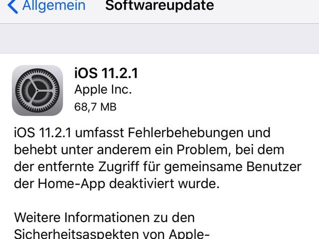 Apple veröffentlicht iOS 11.2.1
