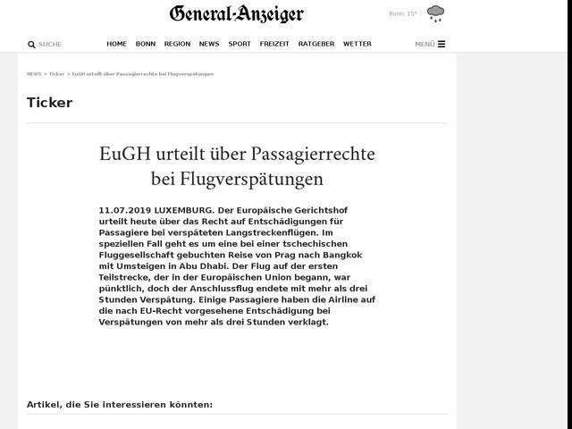 EuGH urteilt über Passagierrechte bei Flugverspätungen
