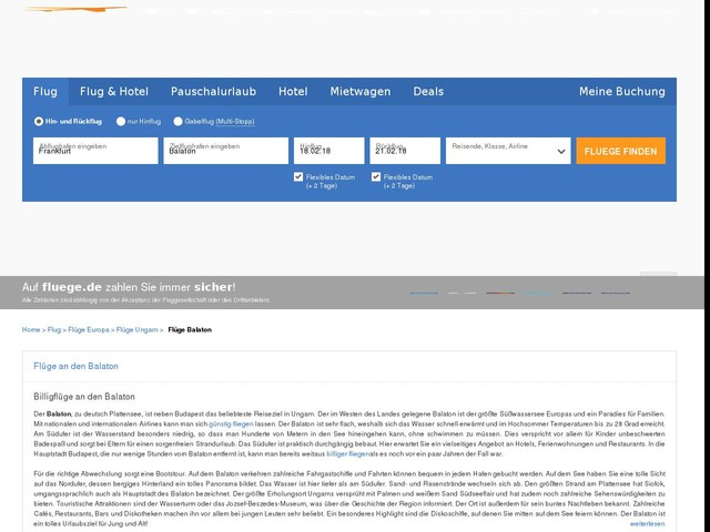 Flug Balaton: Flüge & Billigflüge nach Balaton günstig online buchen | fluege.de