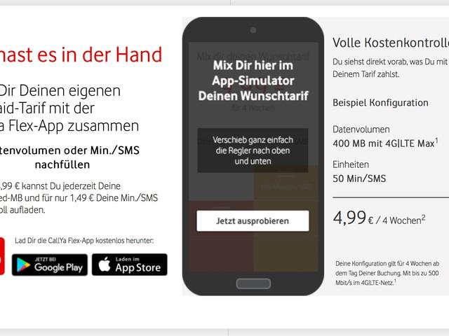 Vodafone CallYa Flex: monatlich anpassbarer Prepaid-Tarif geht an den Start