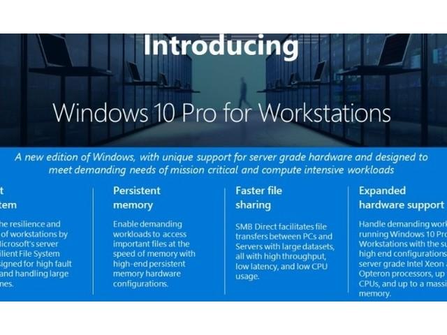 Windows 10 Pro for Workstations offiziell vorgestellt