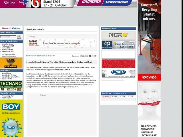 LyondellBasell: Neues Werk für PP-Compounds in Dalian eröffnet