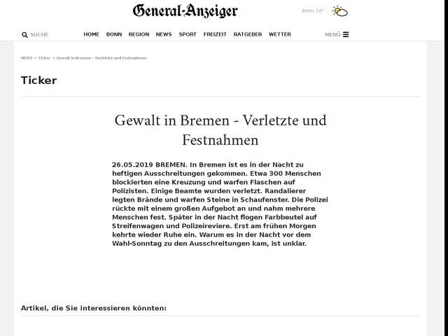 Gewalt in Bremen - Verletzte und Festnahmen