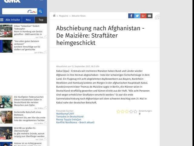 Abschiebung nach Afghanistan - De Maizière: Straftäter heimgeschickt