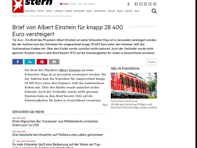 Brief Von Albert Einstein Für Knapp 28 400 Euro Versteigert