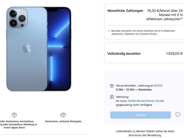 1TB-Speicheroption des iPhone 13 Pro (Max) hat bereits Lieferzeiten bis in den Oktober hinein