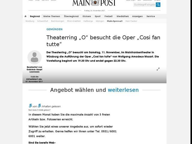 """Theaterring """"O"""" besucht die Oper """"Cosi fan tutte"""""""