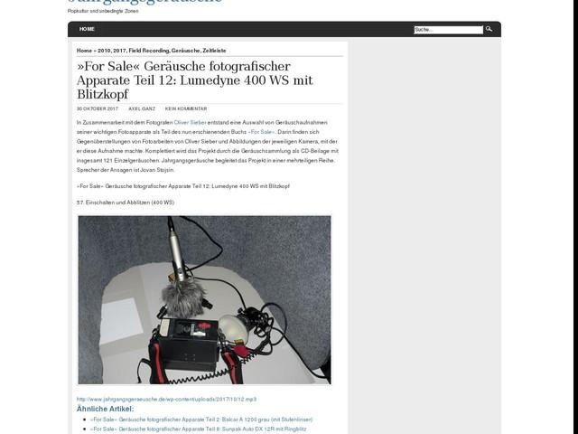 »For Sale« Geräusche fotografischer Apparate Teil 12: Lumedyne 400 WS mit Blitzkopf