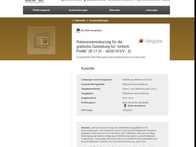 """Rahmenvereinbarung für die grafische Gestaltung für """"einfach Politik"""" (B 17.31 - 9223/16/VV : 2)"""