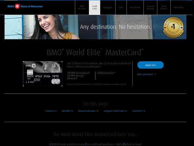BMO World Elite MasterCard   Credit cards   BMO Bank of Montreal