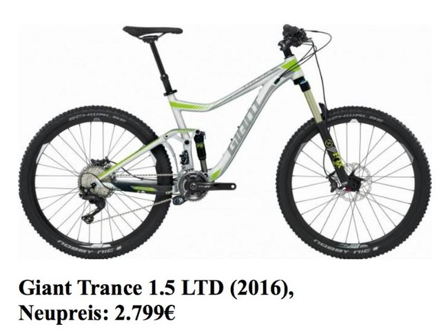 MTB Gr L Giant Trance 1.5 LTD 2016 Mountainbike 27,5 Bike TOP WOW Restgarantie NP 2799 Allmountain TOP Zustand Alu-Silber, grün, schwarz in Euskirchen