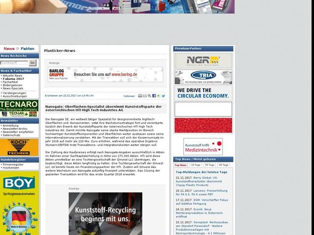 Nanogate: Oberflächen-Spezialist übernimmt Kunststoffsparte der österreichischen HTI High Tech Industries AG