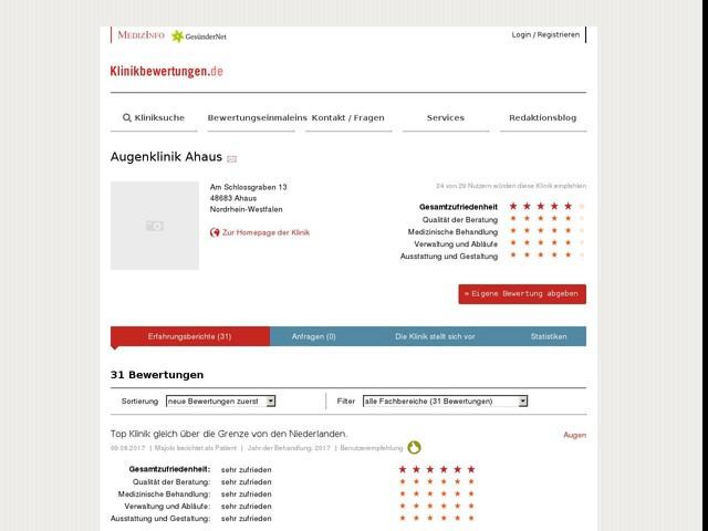 Erfahrungen mit Augenklinik Ahaus, NRW, 09.08.2017