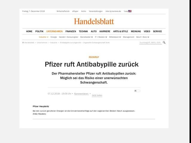 Rückruf: Pfizer ruft Antibabypille zurück