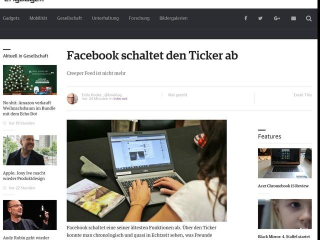 Facebook schaltet den Ticker ab