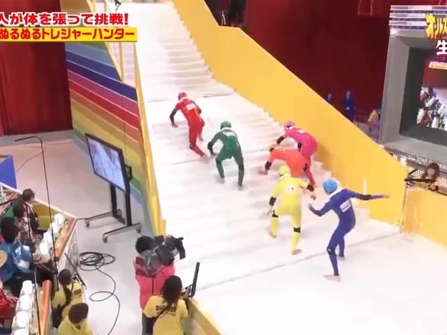 Wer erklimmt die eingeseifte Treppe?