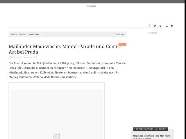 Mailänder Modewoche: Mantel-Parade und Comic-Art bei Prada