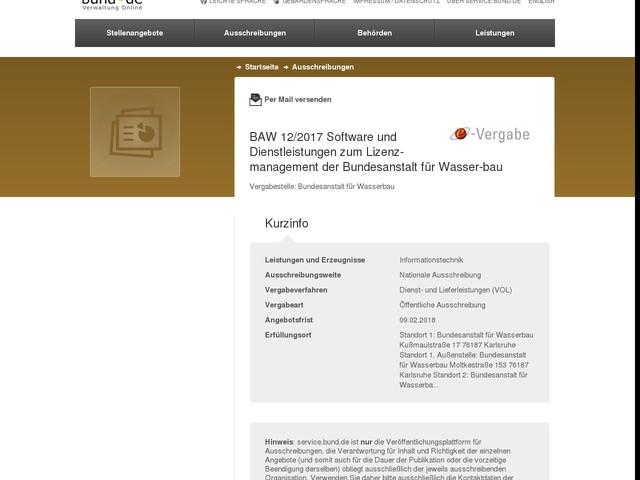 BAW 12/2017 Software und Dienstleistungen zum Lizenz-management der Bundesanstalt für Wasser-bau