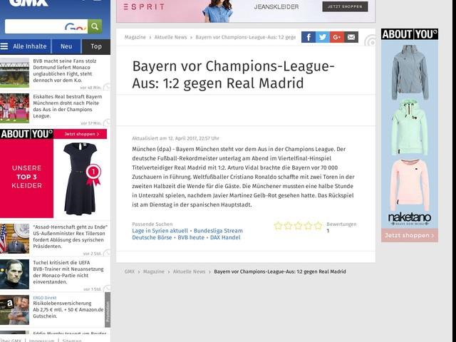 Bayern vor Champions-League-Aus: 1:2 gegenRealMadrid