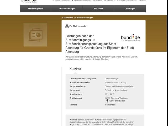 Leistungen nach der Straßenreinigungs- u. Straßensicherungssatzung der Stadt Altenburg für Grundstücke im Eigentum der Stadt Altenburg