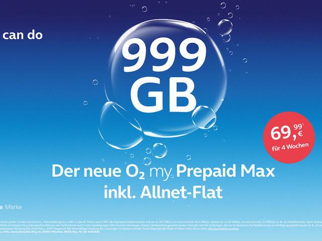 o2 my Prepaid Max: Neuer Prepaid-Tarif mit 999GB Datenvolumen
