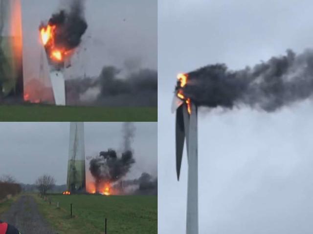 Windrad brennt auf 100 Meter Höhe - und die Feuerwehr ist ratlos