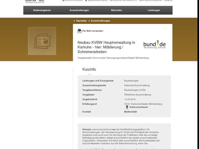 Neubau KVBW Hauptverwaltung in Karlruhe - hier: Möblierung / Schreinerarbeiten