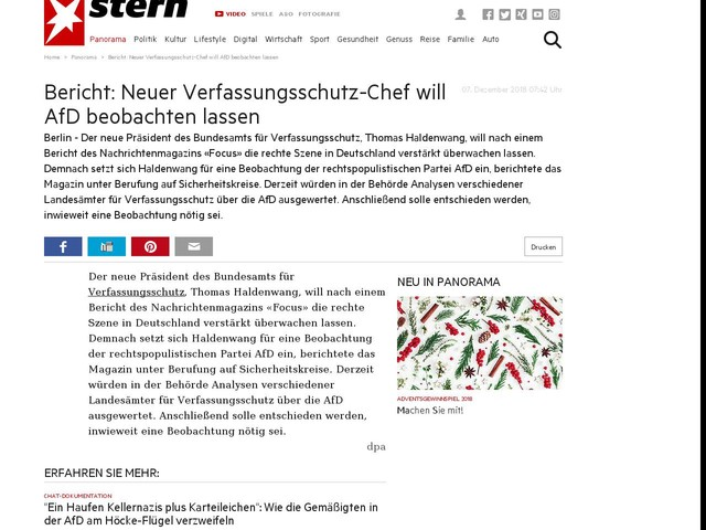 Bericht: Neuer Verfassungsschutz-Chef will AfD beobachten lassen