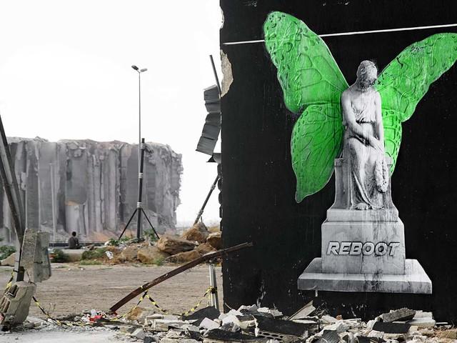 """""""REBOOT"""" Street Art Projekt des Künstlers Ludo zum Wiederaufbau nach der Explosion in Beirut"""