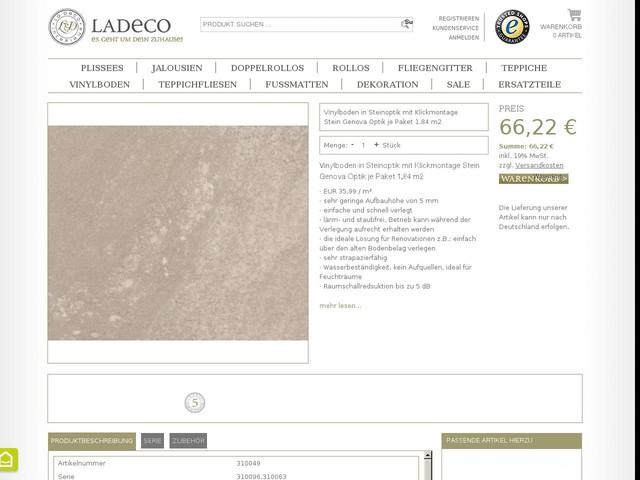 Vinylboden in Steinoptik mit Klickmontage Stein Genova Optik je Paket 1,84 m2   Ladeco