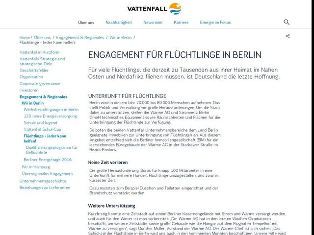 Flüchtlingshilfe in Berlin - Vattenfall